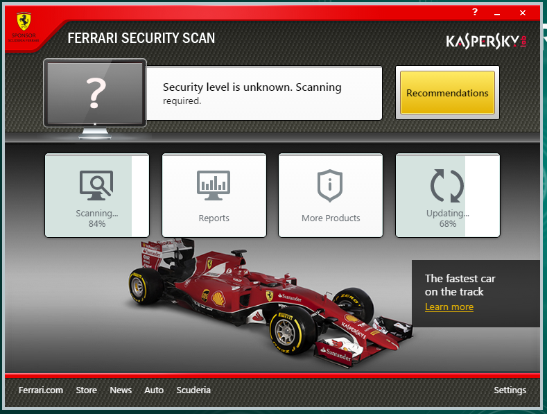 Ferrari Security Scan Screen shot